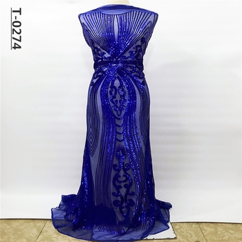 Royal Blue French Mesh white Gold Sequins Lace Fabric,High Quality African Tulle Net Elastic Lace Fabric with Sequins Wedding