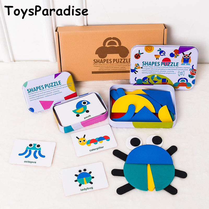 Dropshipping Shape Puzzles Wooden Toys For Kids Matching Card Iron Box Geometry Puzzles Preschool Teaching Aids Educational Gift