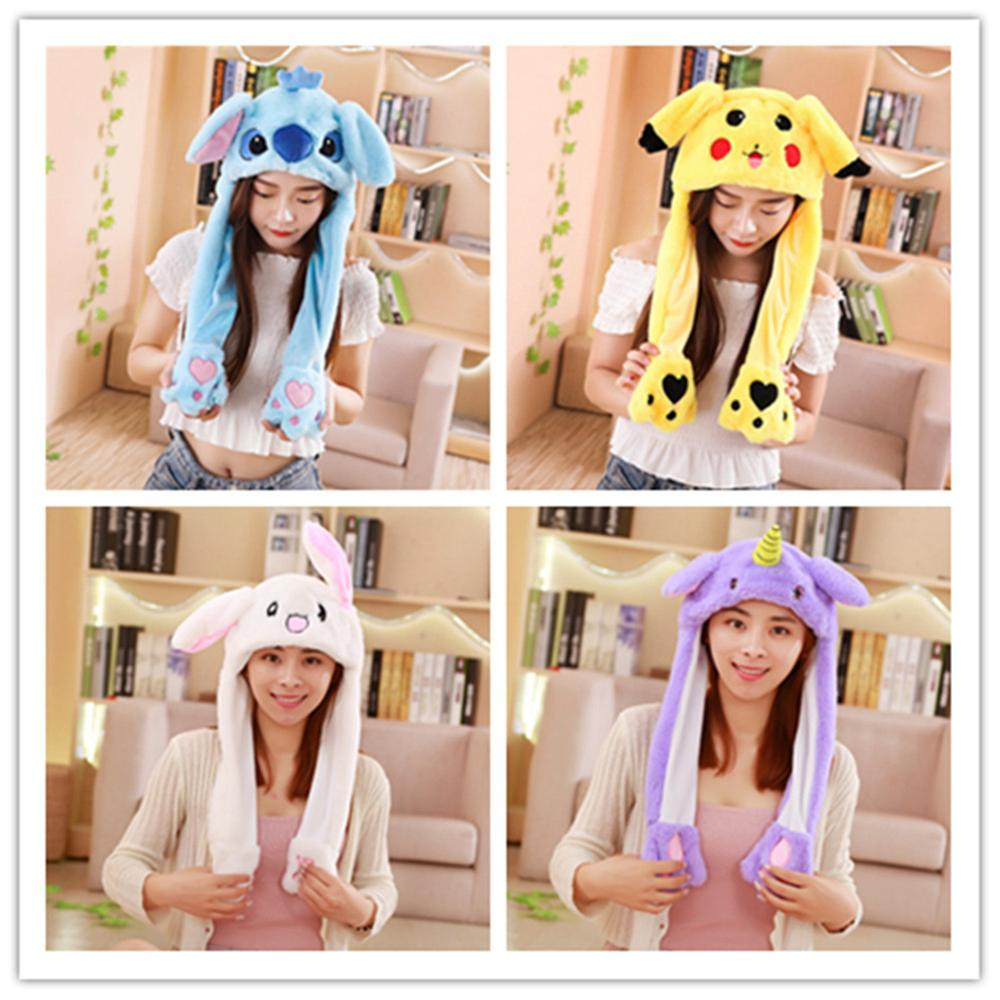 Funny Hat Party-Hat Rabbit-Ears Warm Shine Winter Kids Women Plush-Ears Cute Lighting-Hat title=