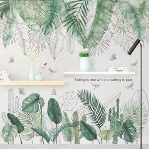 Зеленые листья в скандинавском стиле, настенные наклейки для спальни, гостиной, Настенный декор для кухни, детской комнаты, виниловые насте...