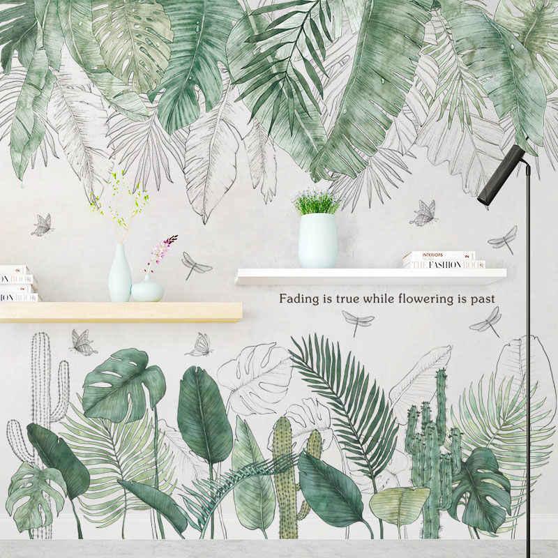 24 סגנונות ירוק עלים קיר מדבקות חדר שינה סלון חדר אוכל מטבח חדר ילדים חדר DIY ויניל קיר מדבקות דלת ציורי קיר