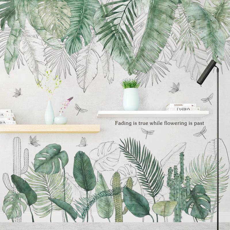 Nordic folha verde erva daninha adesivo de parede para o quarto sala estar decoração 3d telha adesivos decalques da parede do vinil decoração casa