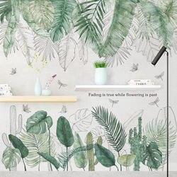 Pegatinas de pared de hojas verdes de 24 estilos para dormitorio, sala, comedor, cocina, habitación de niños, pegatinas de vinilo DIY para pared, murales de puerta