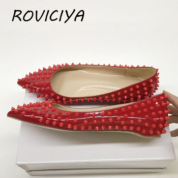 Flat Rivet Shoes Women Pointed Toe Party Wedding Brand Designer Shoes Black Red Rivet Spring Summer MD033 ROVICIYA