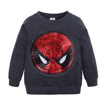 Детский свитер; коллекция года; сезон весна; стиль; дуинь; Человек-паук; блестки; трансформация цвета; толстовка с капюшоном; Капитан Америка