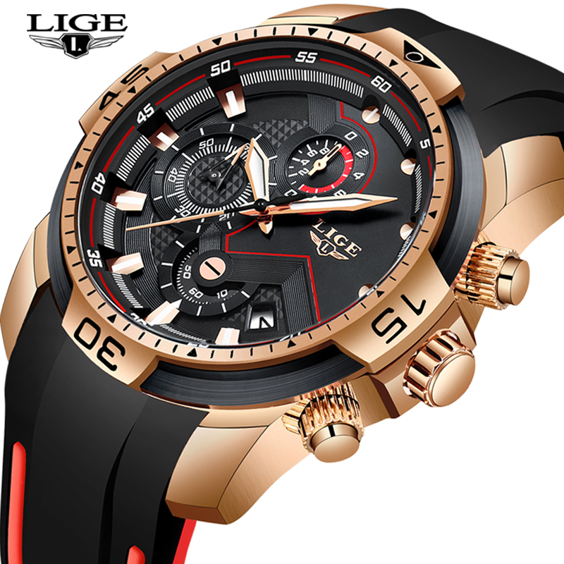 2020 LIGE Sport Watch Men Top Brand Luxury Chronograph Silicone Strap Quartz Mens Watches Waterproof Clock Relogio Masculino+Box 6