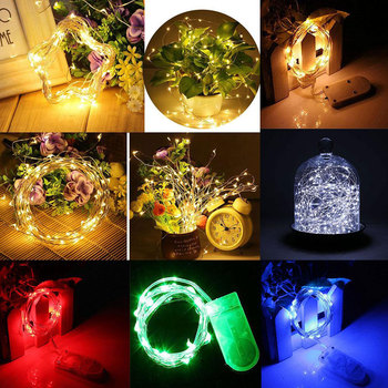 4M LED Bulb Silver Wire Starry String Light Button Battery Home Holiday Decor