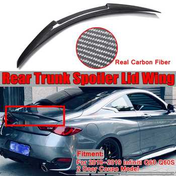 New 3 Style Real Carbon Fiber Car Rear Trunk Spoiler Wing Lid For Infiniti Q60 Q60S 2018-2019 Rear Trunk Boot Lip Spoiler Wing