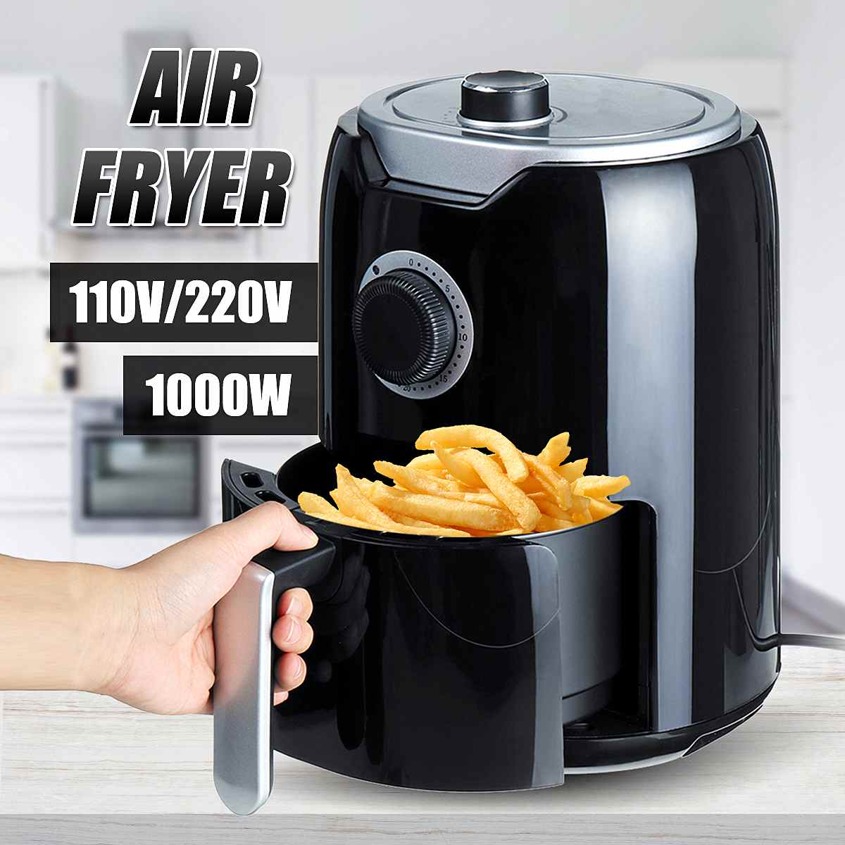 1000W 2L Electric Deep Fryer Air Fryer Timer Temperature Control Power Air Fryer Eletric Household Healthy Kitchen Cooking Tools