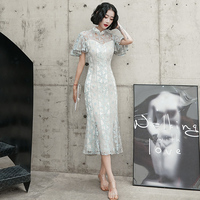 Elegant Slim Butterfly Sleeve Long Cheongsam Exquisite Lady Perspective Lace Qipao Evening Party Gown Mandarin Collar Maxi Dress