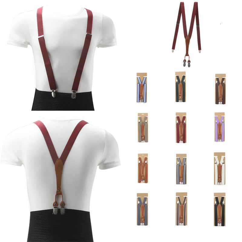 2.5cm Width Skinny Slim Fashion Basic Women Suspender Handmade Brown Female Leather Brace