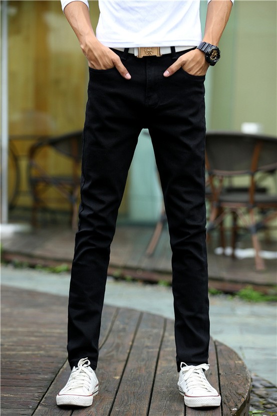 MEN'S Jeans Skinny Pants Slim Models Elasticity Slimming Trousers Autumn New Style Solid Color Pants Fashion