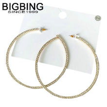 BIGBING jewelry Fashion golden full crystal circle stud Earring fashion earring set fashion women jewelry good quality T060(China)