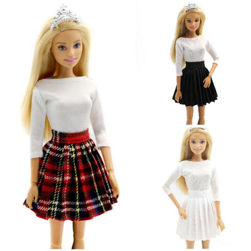 Moda branco tops saia roupas conjunto para barbie 1/6 bjd sd boneca acessórios de roupas casa jogar vestir-se menina brinquedos educativos