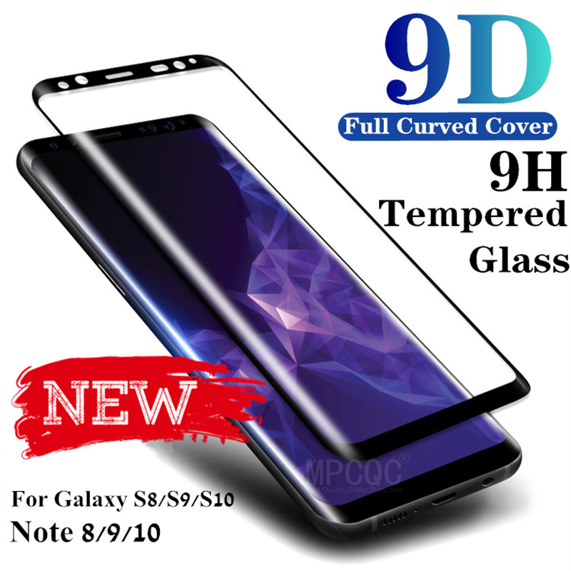 Tempered Glass Film For Samsung Galaxy Note 8 9 S9 S8 Plus S7 Edge 9D Full Curved Screen Protector S10 10 S10e E Scratch Proof Protective