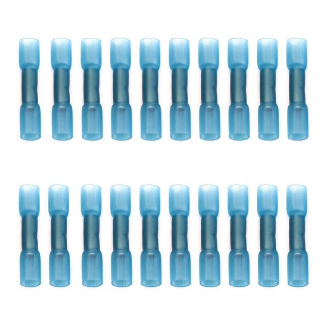 20/30/50Pcs di Calore Shrink Butt Connettori Filo AWG 16-14 1.5-2.5mm2 Blu Impermeabile isolati Automobile Terminali del Cavo di Legare