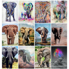 Huacan Diamond Painting Full Drill Elephant Embroidery Cross Stitch Animal Farmhouse Home Decor Mosaic Diamond Art