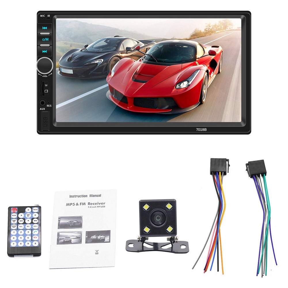 AMPrime Universal 2 din Car Multimedia Player Autoradio 2din Stereo 7 Touch Screen Video MP5 Player Auto Radio Backup Camera(Wi image