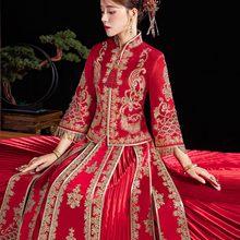 Banquet High-quaity Classic Cheongsam Qipao Bride Mandarin Collar Costume Embroidery Luxury Chinese Wedding Dress