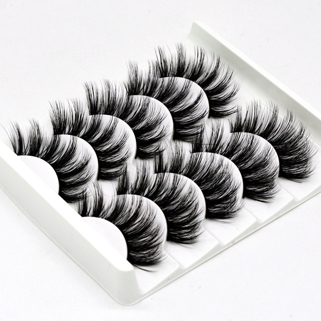 5 pairs 3D Mink Eyelashes Natural False Eyelashes Lashes Soft Fake Eyelashes Extension Makeup Tools Wholesale 4