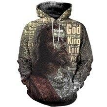 Liumaohua 새로운 스타일 남자 후드 예수 왕의 왕 인쇄 3D 패션 레트로 까마귀 의류 남여 캐주얼 streetwear