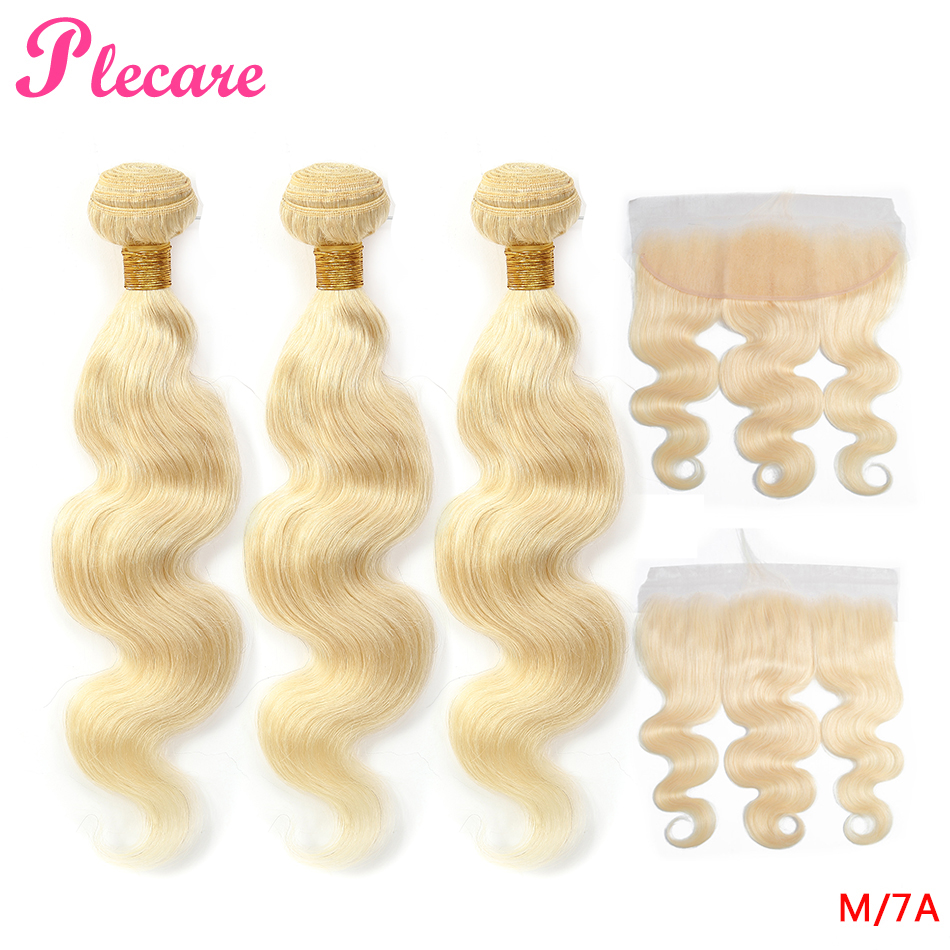 Plecare 613 Rubio 3 mechones con onda Frontal brasileña del cuerpo no remy 8 28 pulgadas medio Ratio 100% extensiones de cabello humano-in Paquetes con cierre 3 / 4 from Extensiones de cabello y pelucas on AliExpress - 11.11_Double 11_Singles' Day 1