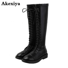 Square Heels Winter Boots Genuine-Leather Shoes Lace-Up Knee Women Flock Top-Quality