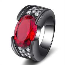 2019 new arrival luxury red black color oval engagement wedding ring for women lady anniversary gift jewelry wholesale R5477