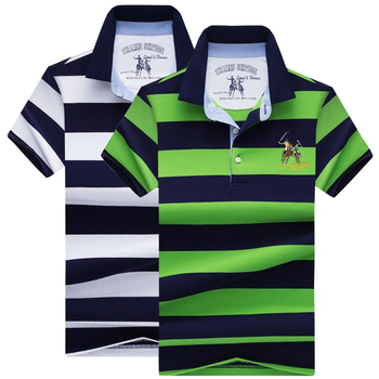 NEW High quality polo shirt Summer new short-sleeved casual men's polo shirt Brand cotton striped shirt polo men top 2pcs/packag фото