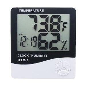 Image 3 - Комнатный термометр гигрометр, электронный цифровой ЖК дисплей C/F, измеритель температуры и влажности, метеостанция с будильником для спальни и дома