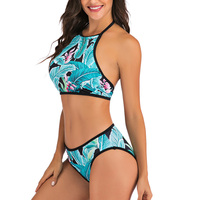 Vestido de baño bikini tropical halter push up