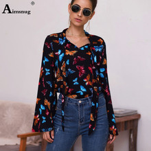 Aimsnug Elegant Print OL Leisure Blouse Women Autumn Wear Female Stylish Fashion Bow Top V-Neck Long Sleeve Bandage Casual Shirt