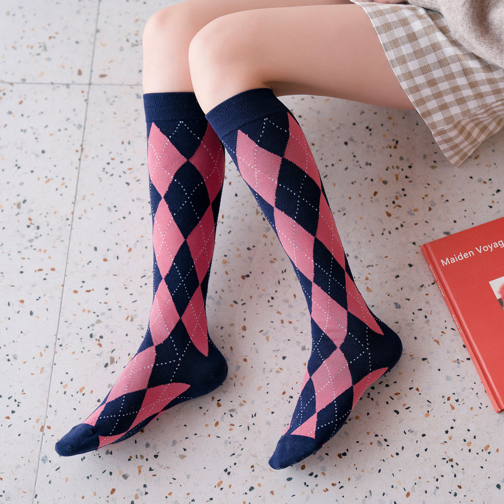 High Elasticity Girl Cotton Knee High Socks Uniform Purple And Pink Fluid Women Tube Socks