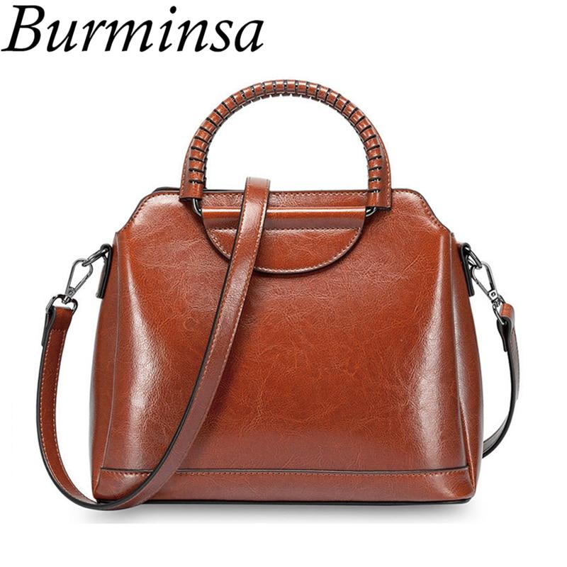 Burminsa Vintage Shell Genuine Leather Women Messenger Bags High Quality Oil Wax Leather Handbags Female Shoulder