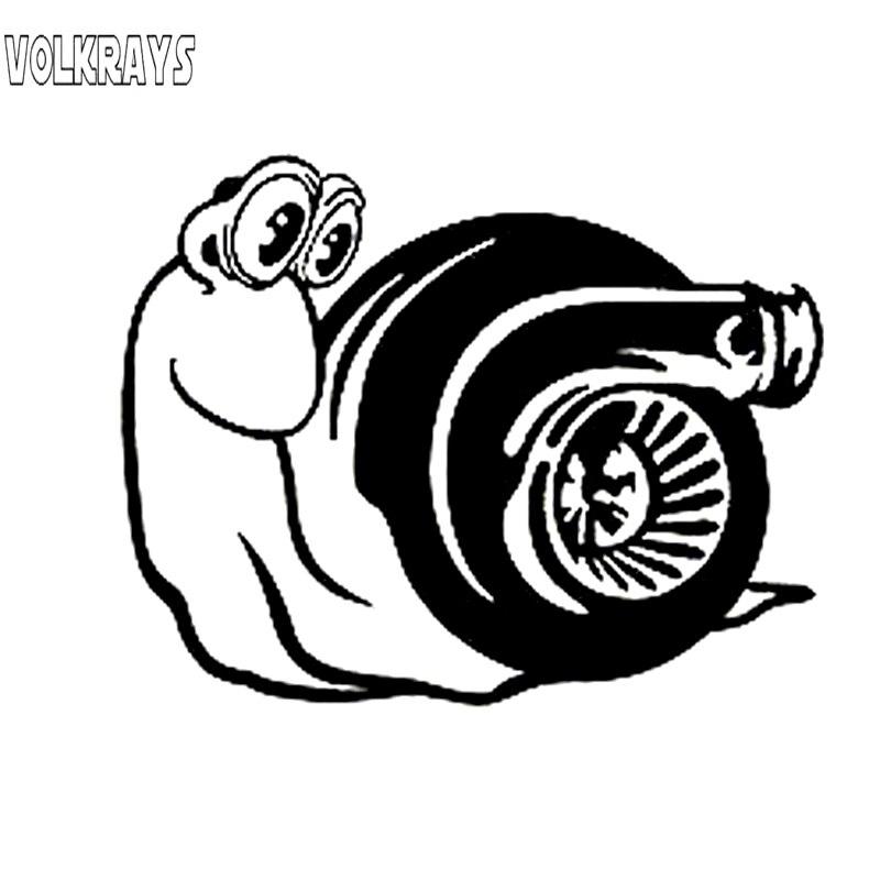 Otomobiller ve Motosikletler'ten Araba Çıkartmaları'de Volkrays moda araba Sticker Turbo salyangoz aksesuarları yansıtıcı su geçirmez vinil çıkartması siyah/gümüş  11cm * 14cm title=