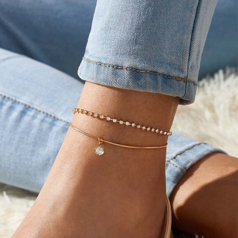 Jewelry wholesale creative simple new double layer rhinestone snake bone anklet ladies fine anklet big brand temperament