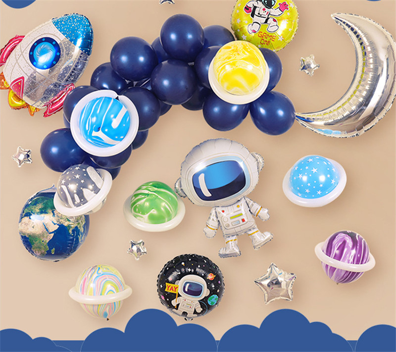 Cartoon Hat Space Series Foil Balloon HAPPY BIRTHDAY Party Decoration Earth Planet Explore Protect Environment Theme Moon