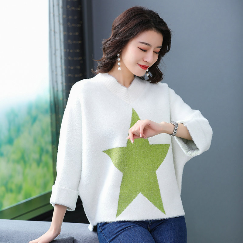 Winter Autumn Woman Imitated Mink Wool Knitting Pullover Sweater Female Casual Star pattern Batwing Sleeve Knit Tops Women V-neck Knitwear