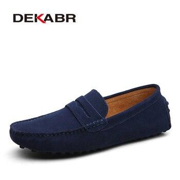 Мужские слипоны на плоской подошве DEKABR, темно-синие модные повседневные мокасины из натуральной кожи, слипоны для вождения, лето -осень 2019
