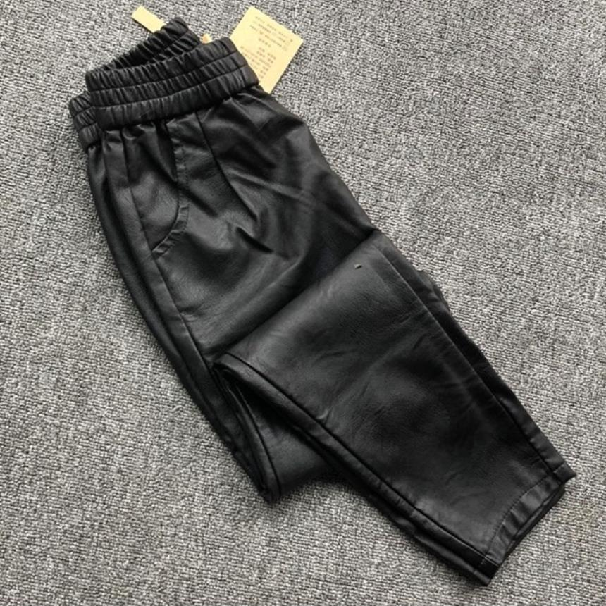Winter Fashion Women's Thick Genuine Leather Pants High Waist Casual Sheep Skin Trousers Female Black Stretch Pencil Pants F520