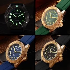 Image 5 - San Martin Diver brązowy automatyczny obrotowy Bezel męski mechaniczny zegarek 200m wodoodporny zespół świecąca tarcza