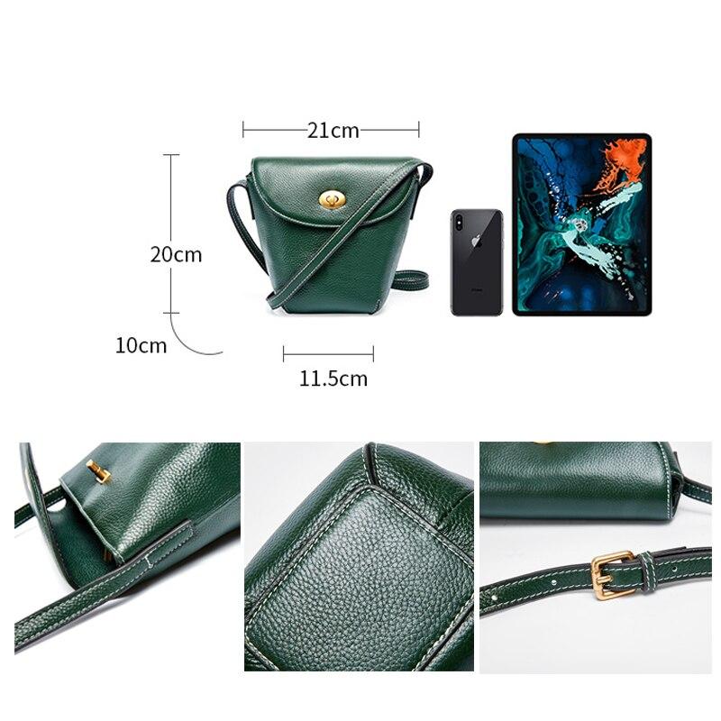 Bolso bandolera de moda para mujer bolso 100% cuero genuino Casual para mujer bolso bandolera balde clásico negro marrón - 6