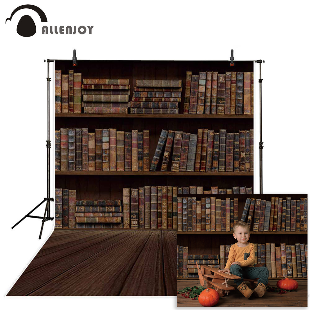 Allenjoy vintage photography backdrop old library bookshelf Wooden floor adult child photo background Wallpapers for the studio