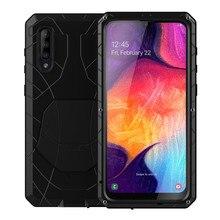 Para samsung galaxy a30s a50 a51 caso de telefone duro alumínio metal temperado protetor de tela vidro resistente proteção a71 capa