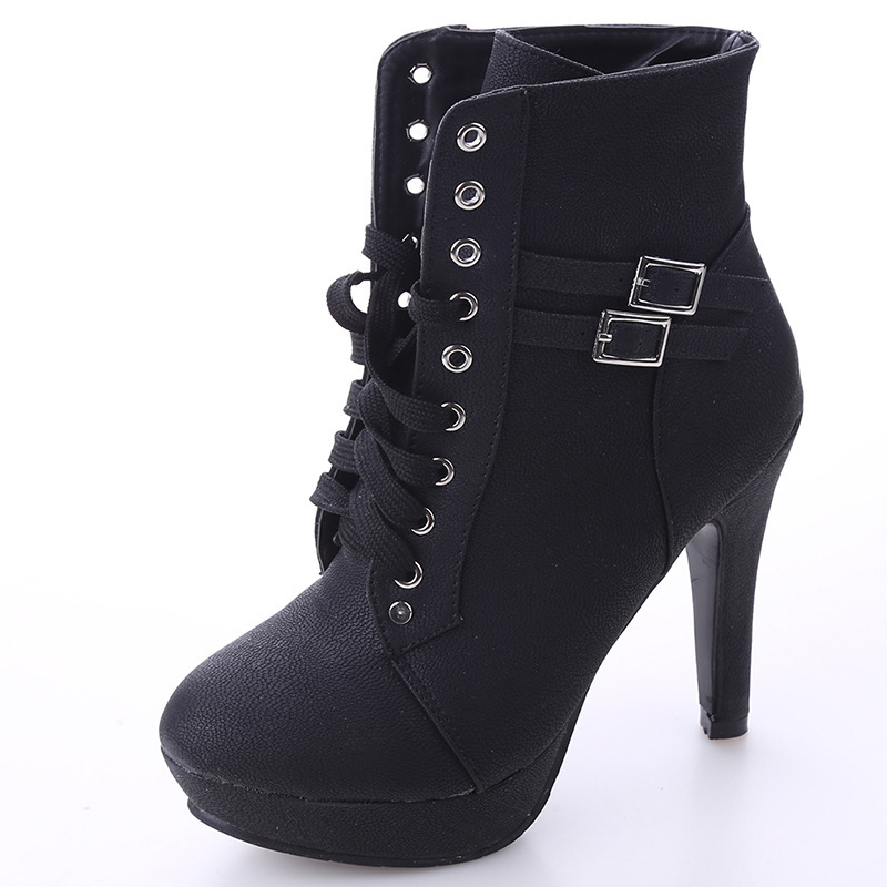 Large Size Lace Up Front Belt Buckle Thick With High Heels Tube Waterproof Platform WOMEN'S Shoes Children