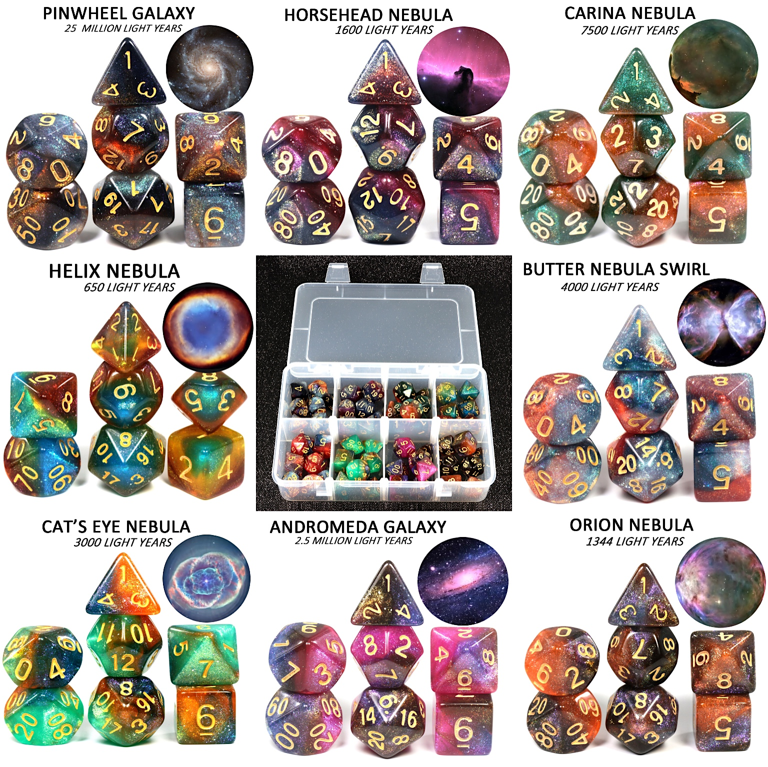 56PCS/Box Cosmic Galaxy Concept Dice Role Playing Game Table  Accessories  8 Themes Christmas Gift Board Game