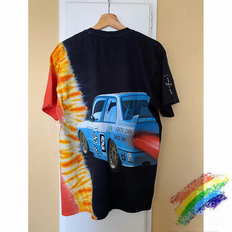 2020ss Travis Scott Jack Boys Hotwheels Racing Tie Dye Tee Men Women Best Quality ASTROWORLD TRAVIS SCOTT T-shirts
