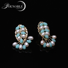 Trendy Natural Fresh Water Pearl Handmade Colorful 925 Stud Earrings For Women Bride Wedding Party Jewelry Bijoux