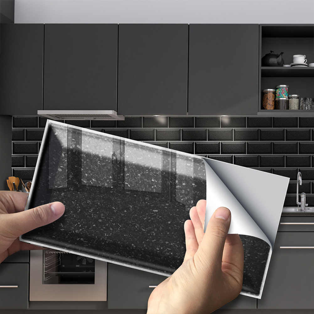 9PCS Waterproof Long Brick Wall Tile Stickers PVC Bathroom Kitchen Self-adhesive