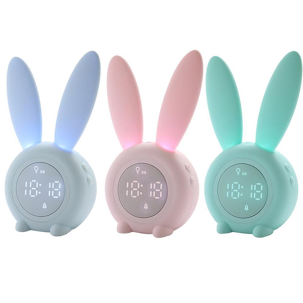 Portable Cute Rabbit Shape Digital Alarm Clock With Led Sound Night Light Function Table Wall Clocks For Home Decoration|Alarm Clocks| |  - title=
